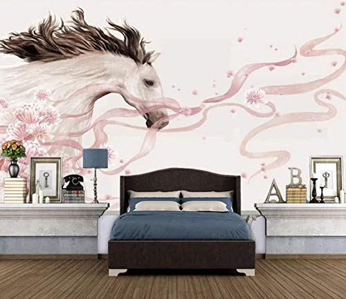 Wall Mural 3D Wallpaper Flowers, White Horse, Simple Modern Wall Paper for Living Room Bedroom Tv Wall Decor,400Cmx280Cm