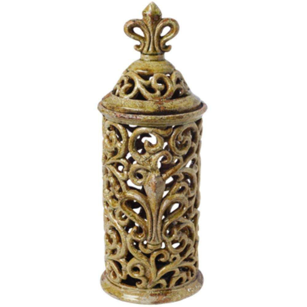 Benzara BM165721 Tall Decorative Ceramic Jar, Green