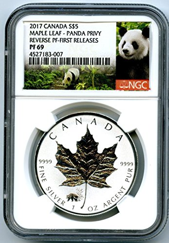 (2017 Canada Coin Canadian Silver Maple Leaf Reverse Proof PANDA Privy FIRST RELEASES $5 PF69 NGC)