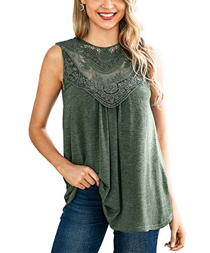 Lace Jersey Top - KIRUNDO 2019 Summer Women's Lace-Paneled Tops Mesh Crochet Hollow Out Sleeveless Flowy Tank Blouse (Medium, Green)