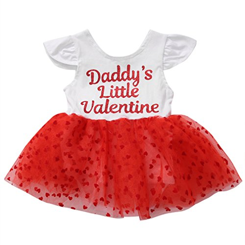 Newborn Toddler Baby Girls Kids Sweet Tutu Dress One Piece Outfits Clothes ''Daddy's Little Valentine'' (0-6 Months, A) (Valentines Party Dresses)