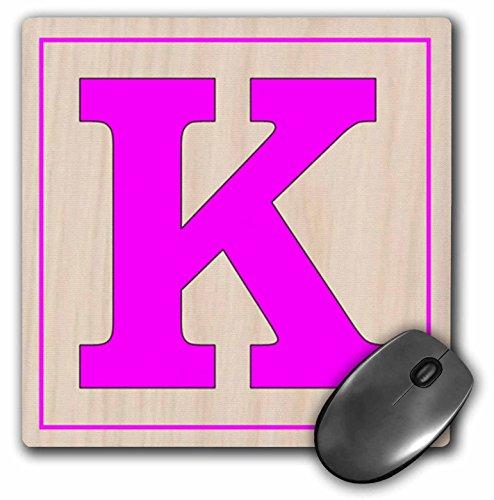 Florene - Childrens Wooden Block Letters - Print of Large Retro Fuchsia K On Wood Block - MousePad (mp_194575_1)