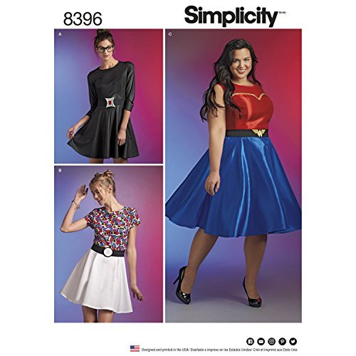 Simplicity Pattern 8396 Plus Size Wonder Woman Black Widow or Pokemon Cosplay Dress Size BB (20W-22W-24W-26W-28W)