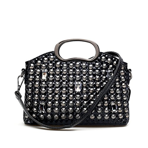 HUAYUN - Bolso mochila  de Charol para mujer negro