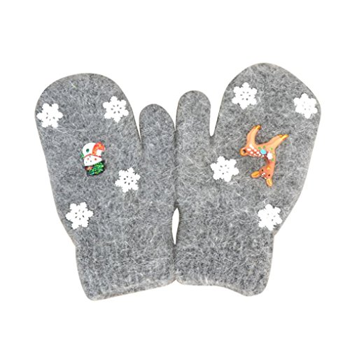 Dark Bronze Deer (Child Infant Christmas Gloves, Palarn Girls Boys Thicken Hot Cute Deer Snowflake Winter Warm Mittens (Dark Grey, 4 - 10 Years))
