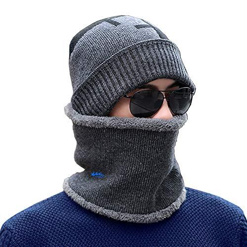 dooolo Winter Beanie Hat Scarf Set Warm Knit Hat Scarf Thick Knit Snow Ski Skull Cap for Men&Women (Grey)