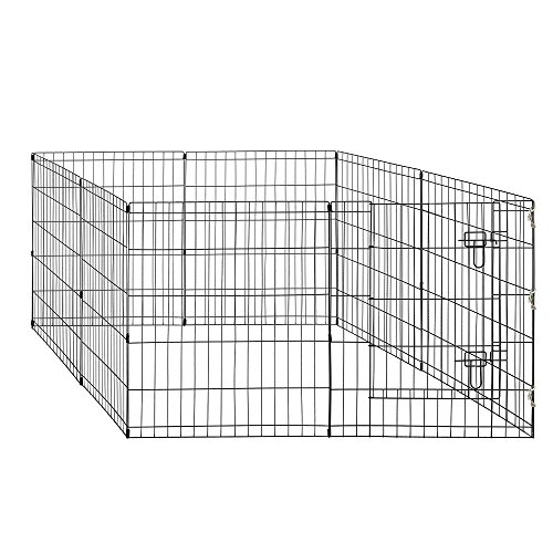 World Backyard Pet Playpen Metal Wire Dog Fence Foldable Exercise Pet Pen with A Gate for Pet, Small or Medium Animals for Outdoor Indoor Yard 8 Panel 24x30 IN