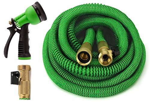 XCH Garden Hose 50 Feet Expandable Hose with All Brass Connectors, 8 Pattern Spray and High Pressure, Expanding Garden Hose