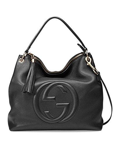 Gucci Soho Large Black Leather Handbag Hobo Zip Strap Soft Italy Tag Bag - Designer Stores Soho