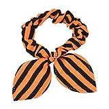 1PC Rabbit Ears Stripes Hair Ring Orange&Blue (D)