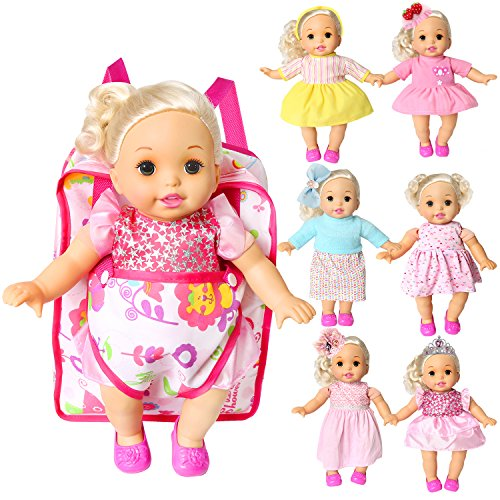 14' Baby Doll Clothes - Pack of 7 Bitty Baby Alive Doll Clothes with Doll Carrier Backpack Storage Bag Handmade Dresses Outfits Realistic Daily Costumes Set Fits 12'' 14'' 15'' American Girl Doll(Dresses and Bag)