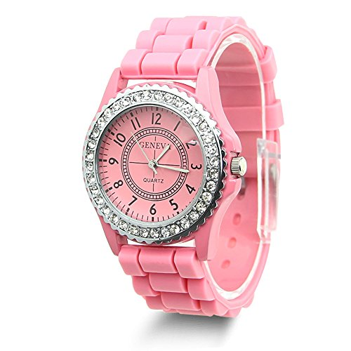 Estone Geneva Fashion Crystal Jelly Gel Silicon Girl Women's Quartz Wrist Watch (Pink) - Pink Quartz Jelly