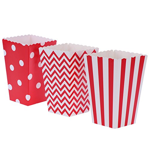 NUOLUX 48pcs Popcorn Boxes Cardboard Candy Container Rugby Stripe Wave Dot Pattern Deco (Red)]()