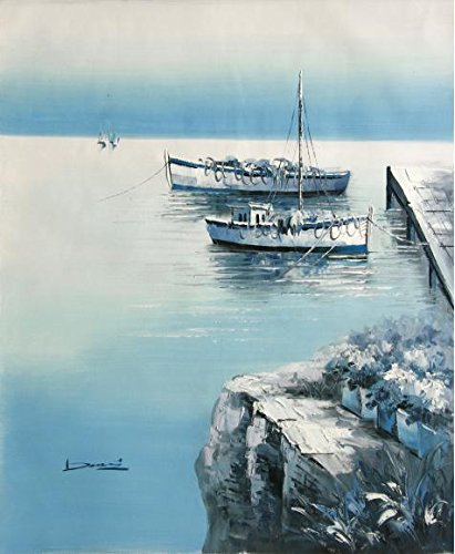Perfect Effect Canvas ,the Cheap But High Quality Art Decorative Art Decorative Canvas Prints Of Oil Painting 'Two Small Boat Tied Up At The Wharf: Blue Tone', 24x29 Inch / 61x74 Cm Is Best For Study Decor And Home Decoration And Gifts