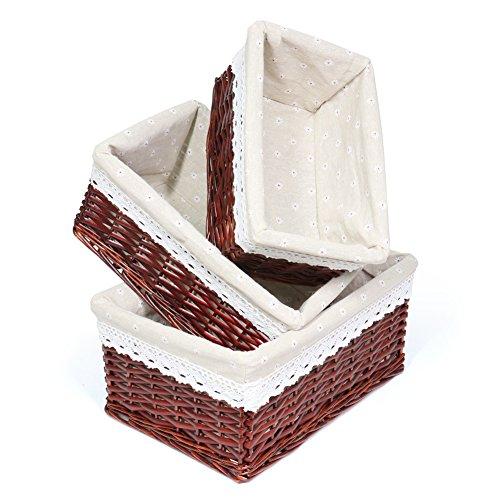 (MEIEM Utility Storage Baskets, Chocolate Brown Wicker Decorative Organizing Baskets, Dark Brown Baskets Shelves for Kitchen, Bathroom Bedroom (Set of 3,Brown))