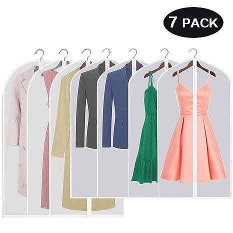 7 Stücke Kleidersack-Aufisi120 x 60 cm und 100 x 60 cm Kleidersäcke Anzugsack Kleiderhülle mit reißverschluss Transparent Atm
