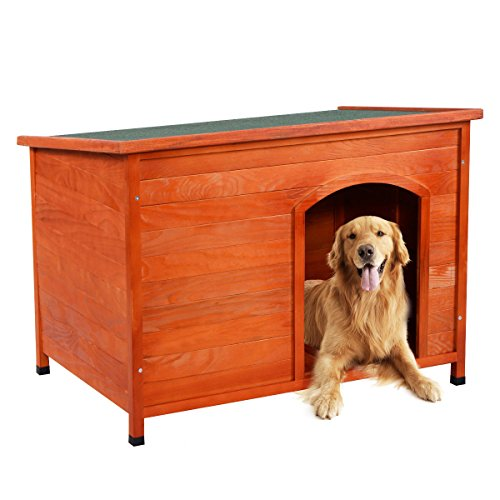Hot Sale! Wood Dog House Pet Shelter Large Kennel Weather Resistant Home Outdoor Ground (Extra Large)