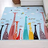 FADFAY Cute Cartoon Kids Rug Flannel Baby Soft Floor Mat Kids Road Play Mat
