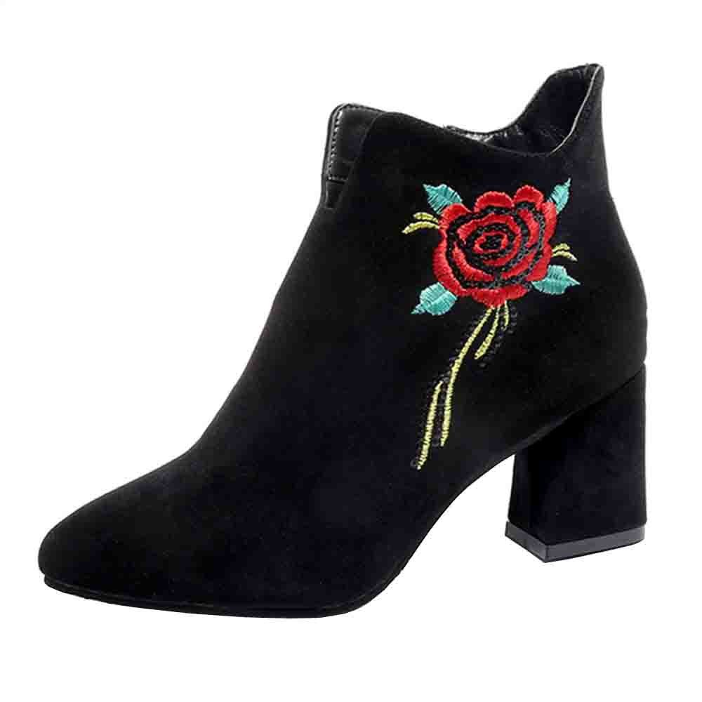 Women's Boots Fashion Embroidered Rosa Leather Loafer Faux Boots Ankle Boots Casual Bootie Shoes Black