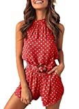 PRETTYGARDEN Women's Summer Polka dot Printed Halter Neck Sleeveless Elastic Waist One Piece Short Jumpsuit Rompers (Wine Red, Large)
