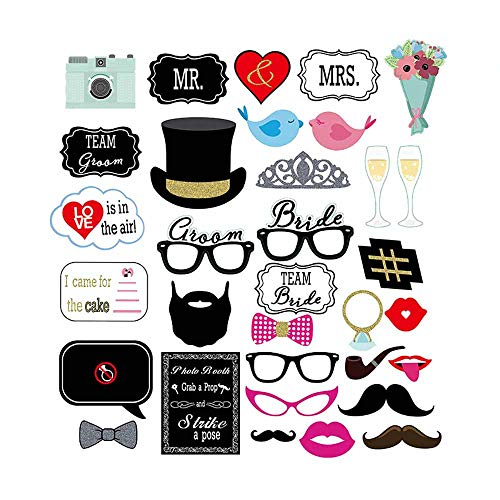FiVan 33PCS Wedding Mustache Photo Booth Props Colorful Props on Stick Bridal Shower Party Favor Christmas Birthday Favor-Camera and Cheers -