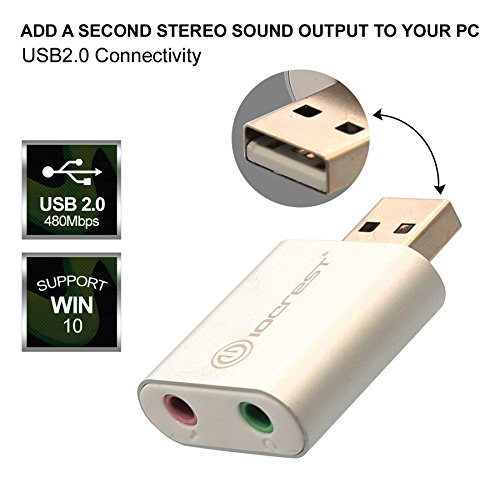 Pc Audio Usb - IO Crest USB to Audio Adapter Convert PC USB Port into A Stereo Sound Card for Windows & Mac Sound Cards (SY-AUD20205)