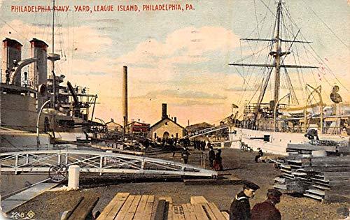 Military Battleship Postcard, Old Vintage Antique Military Ship Post Card Philadelphia Navy Yard, League Island, Philadelphia, PA USA 1914