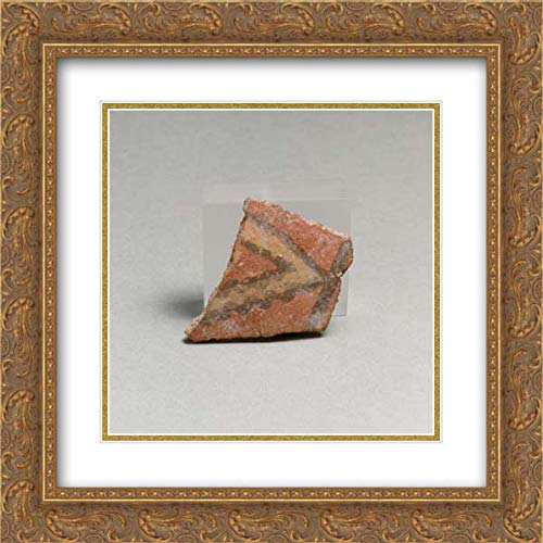 (Greek Neolithic Culture - 20x20 Gold Ornate Frame and Double Matted Museum Art Print - Terracotta Vessel Fragment)