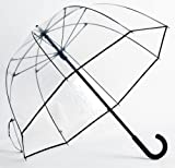 Elite Rain Women's Fiberglass Bubble Umbrella with Narro Trim - Clear