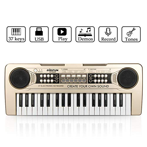 Piano for Kids, JINRUCHE 37Keys Multi-function Electronic Keyboard Piano Play Piano Organ with Microphone and U-Disk Play Music Educational Toy for toddlers Kids Children (Champagne)
