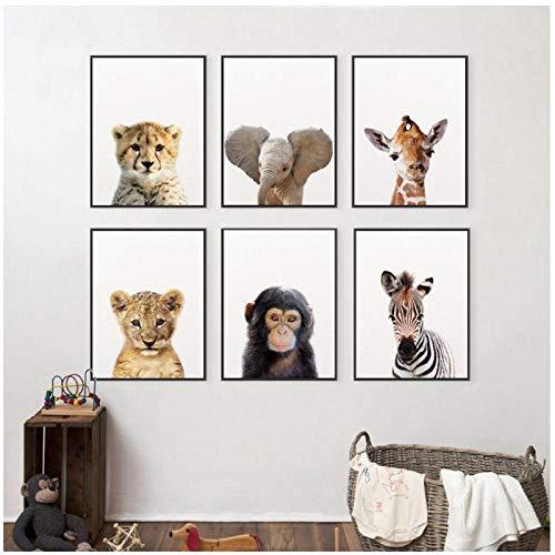 Lion Zebra Elephant Giraffe monkey Baby Animals Art Print Poster, Safari Animals Canvas Painting Kids Room Nursery Wall…