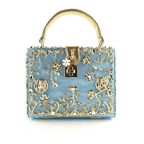 Fzhly Inclinado Vestido De Bolsa La Hombro Claro Acrílico Azul Bolso Novia De Lona Noche Grabado De De De Estéreo Mujer Del xrrU6qwX