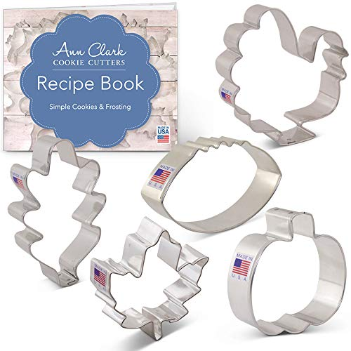 Fall Thanksgiving Cookie Cutter Set with Recipe Booklet - 5 Piece - Maple Leaf, Turkey, Oak Leaf, Pumpkin, Football - Ann Clark - USA Made Steel