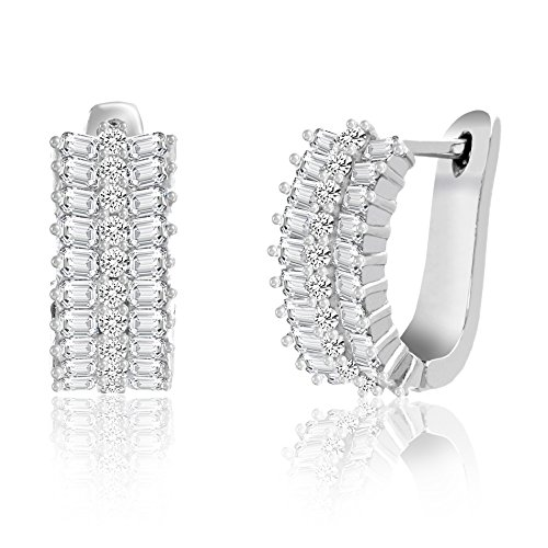 18K White Gold Over Sterling Silver Round & Baguette Cubic Zirconia Huggie Hoop Earring (How To Make A Halo Costume)