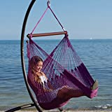 Beau Caribbean Hammock Chair With Footrest   40 Inch   Soft Spun Polyester   ( Purple