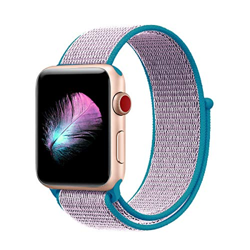 Yunsea Compatible for Apple Watch Band 38mm, New Nylon Sport Loop, with Hook and Loop Fastener, Adjustable Closure Wrist Strap, Replacement Band Compatible for iwatch (38mm, Lavender)