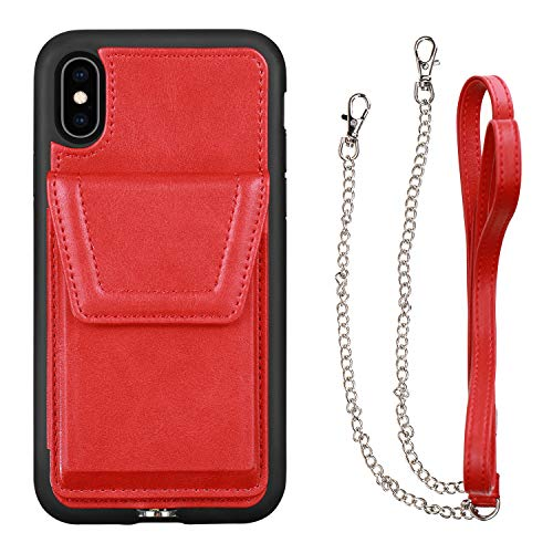JISON21 iPhone Xs Wallet Case,iPhone X Wallet Case with Crossbody Chain Credit Card Holder and Magnetic Closure Crossbody Strap Leather Cover for Apple iPhone X/XS