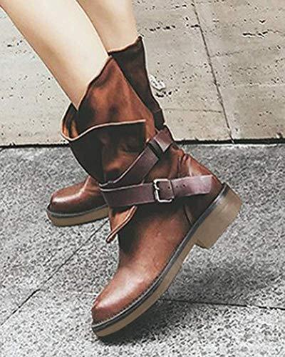 Stivali Tacchi Casual Ankle Moda Marrone Minetom Scarpe Da Donna Bassi Boots Retrò Stivaletti Autunno Inverno Pelle dqP0q