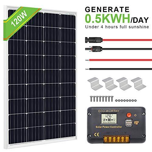 ECO-WORTHY 120 Watt Solar Panel Off-Grid RV Boat Kit:120 Watt Solar Panel+20A LCD Display Charge Controller +Solar Cable +Z Brackets (Best Solar Panel Kit For Rv)