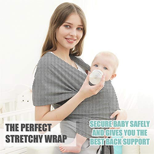 Baby Wrap Carrier- Breathable Lightweight Stretchy Infant Carrier Sling - Newborn Babies and Children up to 55 lbs - Breathable - Softness (Grey Black)