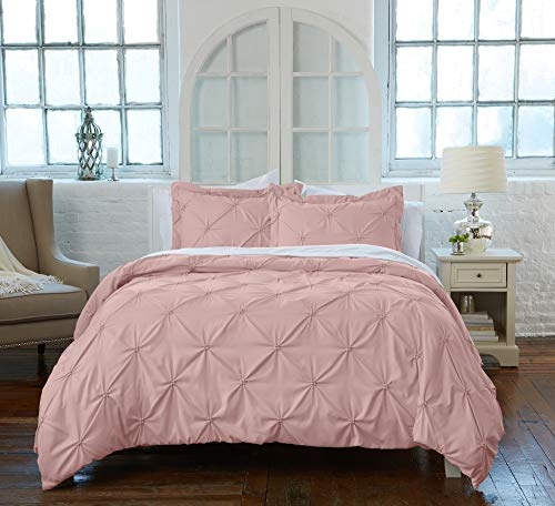 Great Bay Home Signature Pinch Pleated Pintuck Duvet Cover with Button Closure. Luxuriously Soft 100% Brushed Microfiber with Textured Pintuck Pleats and Corner Ties (King, Rose Smoke)