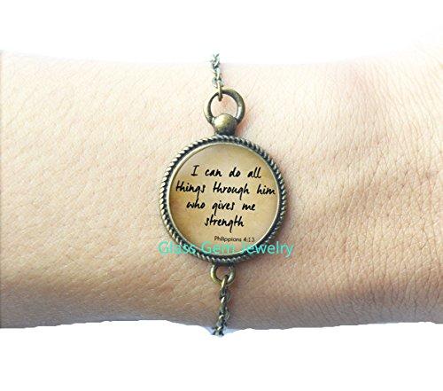 SCRIPTURE Bracelets Philippians 4:13 Scripture Jewelry Encouragement Bible Quote Bracelets Quote Jewelry Christian Bracelets Gift for Christian,Q0196