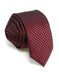 """Shlax&Wing Solid Red Skinny Ties Mens Slim Necktie Silk Wedding New 2.36"""""""