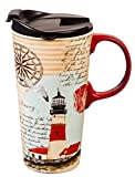 "Cypress Home Northeast Lighthouse 17 oz Boxed Ceramic Perfect Travel Coffee Mug or Tea Cup with Lid - 3""W x 5.25'' D x 7'' H"