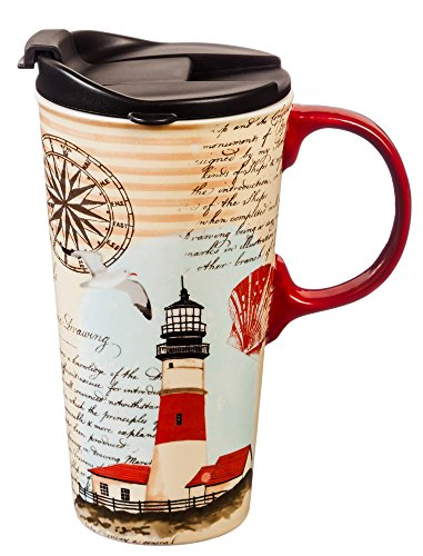 - Cypress Home Ceramic Travel Mug with Gift Box, 17 ounces (Northeast Lighthouse)