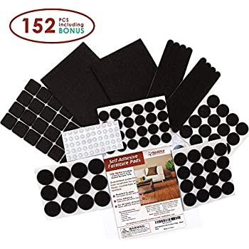 Premium Felt Furniture Pads Set   152 Pieces Including Bonus Rubber Noise  Bumpers   Extra Adhesive