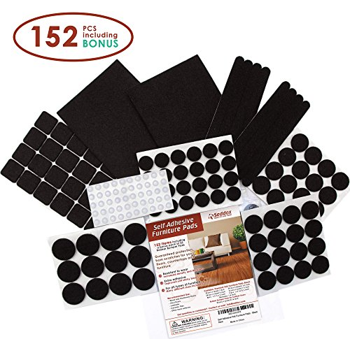 Premium Felt Furniture Pads Set - 152 pieces Including Bonus Rubber Noise Bumpers - Extra Adhesive Hardwood Floor Protectors, Felt Pads for Chair Legs - Black