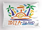 Lunarable Ibiza Pillow Sham, Tropical Island Doodle with Summer Season Foliage and Palm Trees South Spain Europe, Decorative Standard Queen Size Printed Pillowcase, 30 X 20 Inches, Multicolor