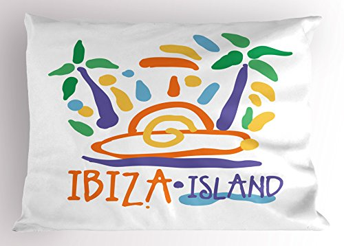 Lunarable Ibiza Pillow Sham, Tropical Island Doodle with Summer Season Foliage and Palm Trees South Spain Europe, Decorative Standard Queen Size Printed Pillowcase, 30 X 20 Inches, Multicolor by Lunarable