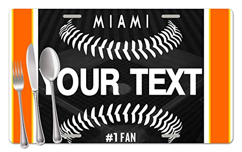 - BRGiftShop Personalized Custom Name Baseball Team Miami Set of 4 Table Placemats